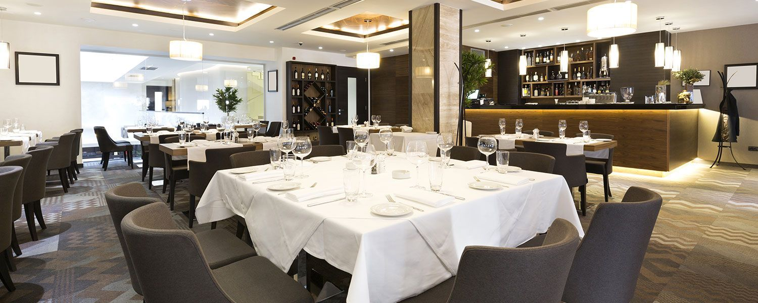 Leisure, hospitality & catering insurance: Inside an empty, high-end restaurant.